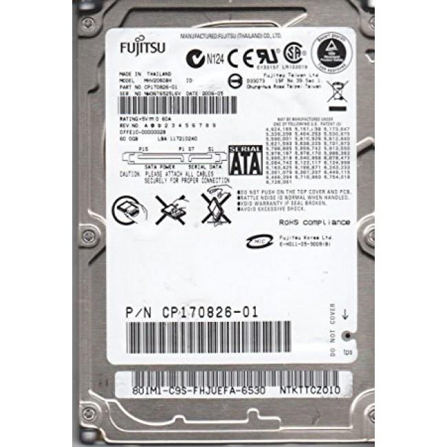 """Disco duro Fujitsu SATA 60GB 2.5"""" HDD 5400RPM"""
