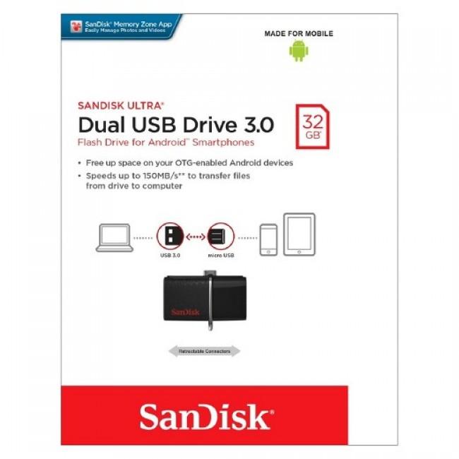 Sandisk Dual USB Drive  32GB USB 3.0 OTG