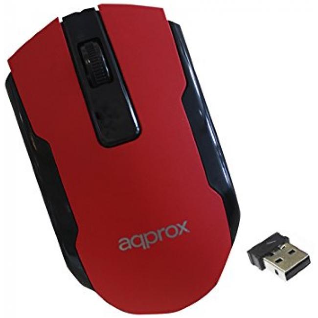 Approx - Ratón óptico inalámbrico, negro y rojo