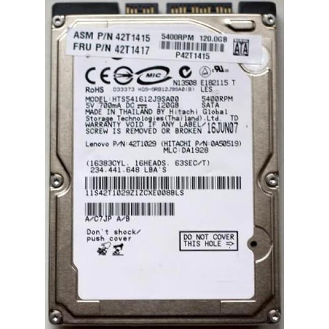 "Disco duro Hitachi SATA 120GB 2.5"" HDD 5400RPM Refurbished"